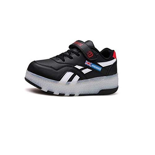 IDE Play Unisex Kinder Rollschuh Schuhe Removable Werden Sport Trainer USB Charge Led Schuhe für Jungen Mädchen Räder Schuhe Licht Turnschuhe Rollschuh,Schwarz,32