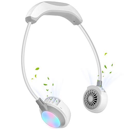 2021 首掛け扇風機 羽根なし 首かけ扇風機 2000mAh 携帯扇風機 USB充電式 3段階調節 静音 熱中症対策(白灰)