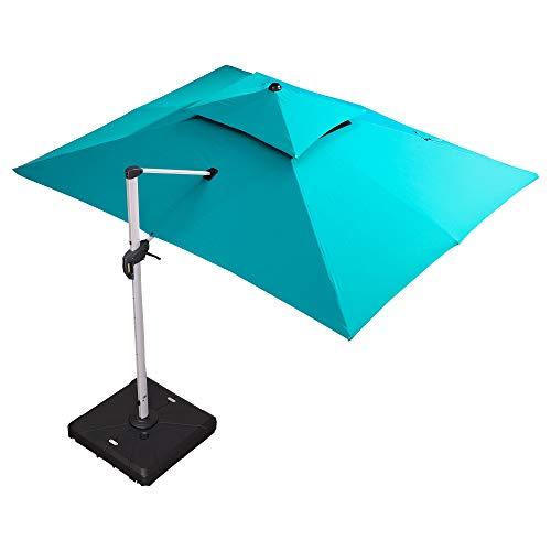 PURPLE LEAF 10' X 13' Double Top Deluxe Rectangle Patio Umbrella Offset Hanging Umbrella Outdoor Market Umbrella Garden Umbrella, Turquoise Blue