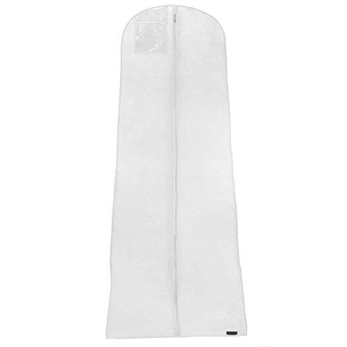 Hangerworld 1 Funda para Vestido de Novia 183cm Transpirable Anti-Polvo Blanco con Cremallera
