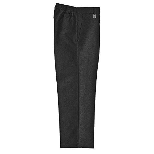 Ozmoint® - Pantalones de uniforme escolar para niño, ajuste estándar, cintura elástica, color negro, gris, azul marino, marrón oscuro (3 a 16 años)