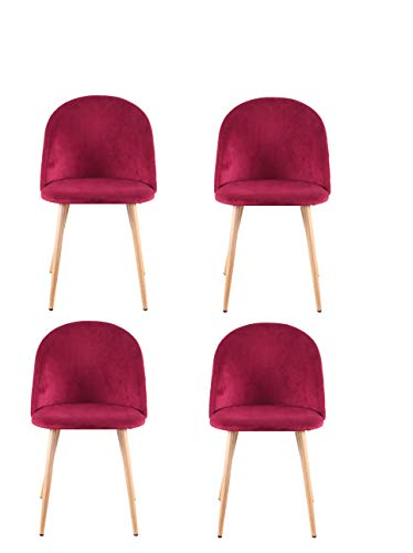 Skycity-EU Un Conjunto de 4 sillas de Comedor con Patas de Terciopelo Suave y Patas de Madera, Cocina, Sala de Estar, Barra de Dormitorio (Rojo)