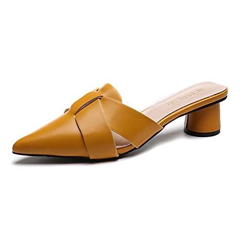 Sandalias Mule para mujer sin respaldo deslizarse en la diapositiva de moda correas cruzadas punta puntiaguda tacón bloque zapatillas, Amarillo, 36.5 EU