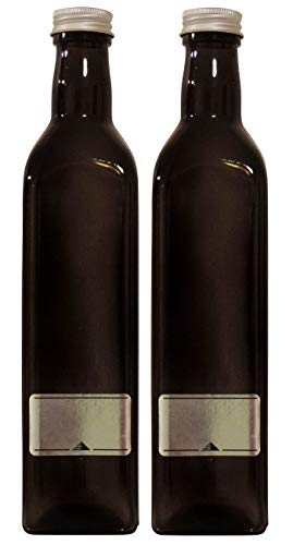Viva Haushaltswaren 2 x Ölflasche 500ml / braune Schraubverschluss zum selbst abfüllen, inkl. Etiketten zum Beschriften Glasflasche, Glas, 5.8 x 5.8 x 26 cm, 2-Einheiten