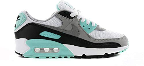 Nike W Air Max 90, Chaussure de Course Femme, White/Particle Grey-Hyper Turq-Black, 38.5 EU