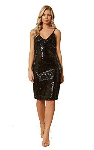 UNIQUE21 Damen Pailletten Midi-Kleid Damen Cocktailkleid Abendkleid Club Party Kleider Gr. 48, Schwarz