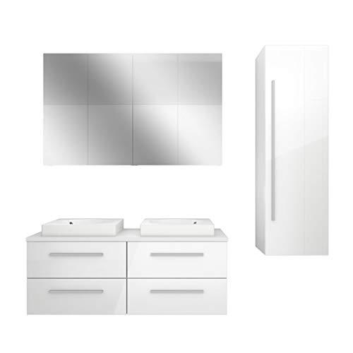 AcquaVapore Badmöbel Set City 201 V3 Hochglanz weiß, Badezimmermöbel, Waschtisch 120 cm NEIN ohne LED-Beleuchtung