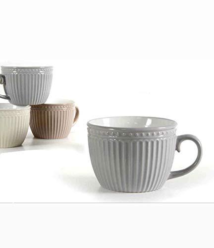 Kasahome Set 4 Tazze da Colazione con Manico Tazzine Cappuccino Latte Tè Tisane in Ceramica Casa Bar 460 ML
