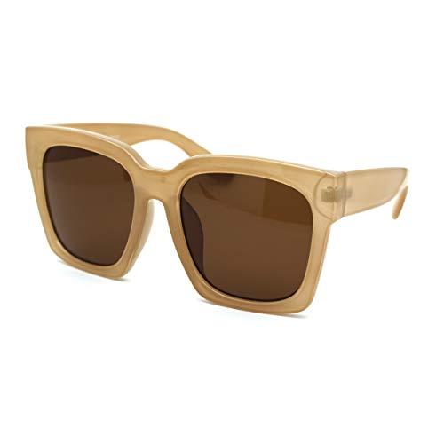 Gafas de sol de plástico grueso con borde cornudo para mujer, Beige (Beige Marrón), Talla única
