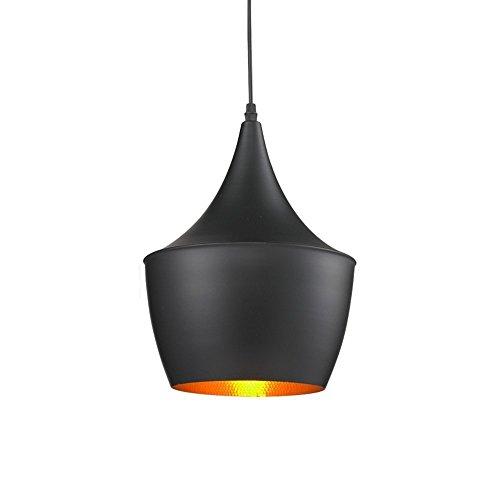 Glighone Lámpara Colgante Luz de Techo 40W Lámpara de Comedor Industrial Luz de Metal Casquillo E27 No Incluye Bombilla para Restaurante Cafetería, Número Medio, Negro y Oro