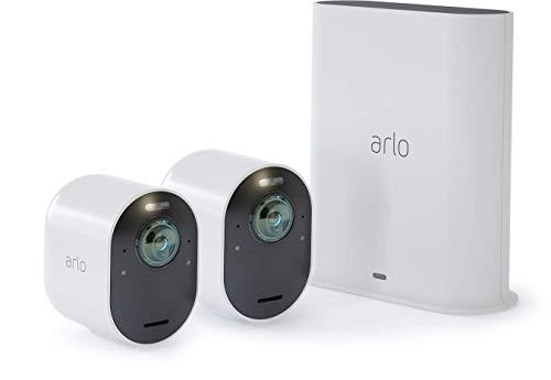 Arlo Ultra 4K HDR Kit de 2 Caméras Intelligentes Connectées, éclairage Intégré, Rechargeable, sans Fils, Audio Bi-Directionel, Étanche, Jour/Nuit, Vision Nocturne Coloreée, Grand Angle 180° (VMS5240)