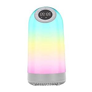 TTAototech Night Light Bluetooth Speaker, Multi-Color Touch Sensor Beside Lamp Music Player Built-in Mic, FM Radio Bedroom Alarm Clock Wireless Speaker