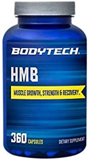 BodyTech HMB 1000 MG Muscle Growth, Strength, Recovery; Promotes Protein Synthesis, 90 Servings (360 Capsules)