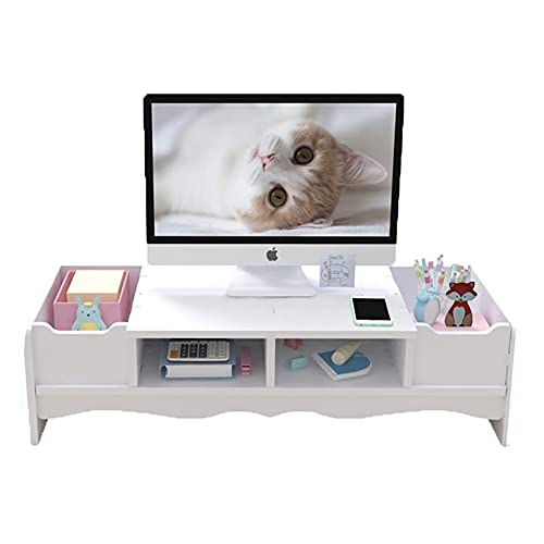 Soporte para monitor de computadora con cajones, soporte para impresora portátil, 2 niveles, organizador de almacenamiento para suministros de oficina