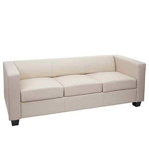 Mendler 3er Sofa Couch Loungesofa Lille - Leder, Creme