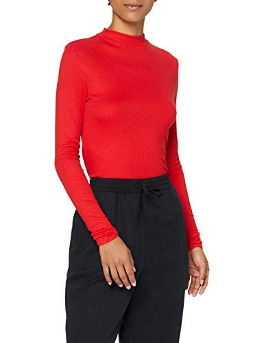 Marca Amazon - MERAKI Camiseta de Manga Larga Mujer, Rojo (Racing Red), 36, Label: XS