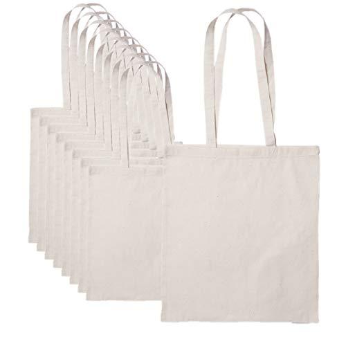 Publiclick Lote 25 unidades Bolsa de algodón ECO 140 gr COTT,Med 37 X 41 m,Bolsa algodón personalizable, asas larga, Rest 9kg
