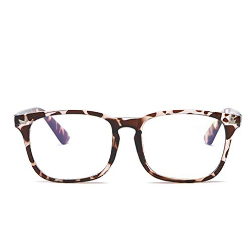 WEQQ Espejo Plano Retro Gafas Anti-Azules Masculinas y Femeninas Marco Universal de uñas de arroz (Estampado de Leopardo)