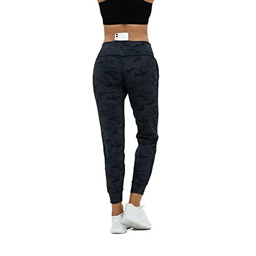 CAPMAP Leggings Sportivi da Donna Pantaloni da Jogging Pantaloni da Yoga a Vita Alta per Donna Pantaloni della Tuta con Tasche Pantaloni Sportivi con Tasca per Cellulare da Donna