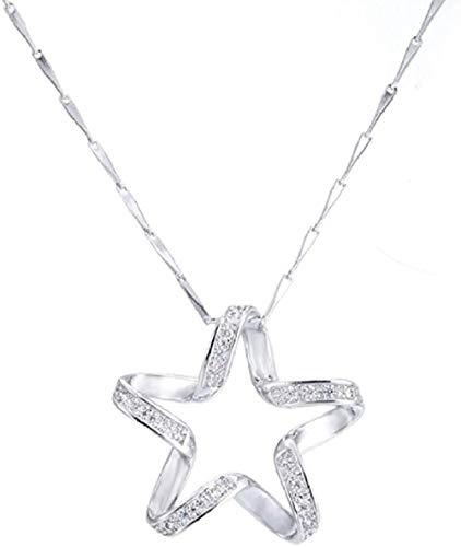 Zaaqio Collar Collar de Plata Moda Cristal Brillante Novia Regalo de cumpleaños 925 Colgante de Mujer Collares Joyas Mujeres