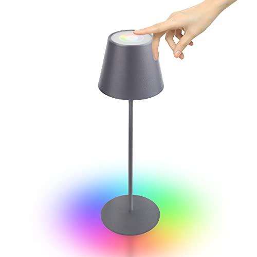 Lampada Ricaricabile da Tavolo dimmerabile Controllo Touch con luce bianca calda 8 colori RGB LED Impermeabile IP45 per la casa e il giardino (grigio)