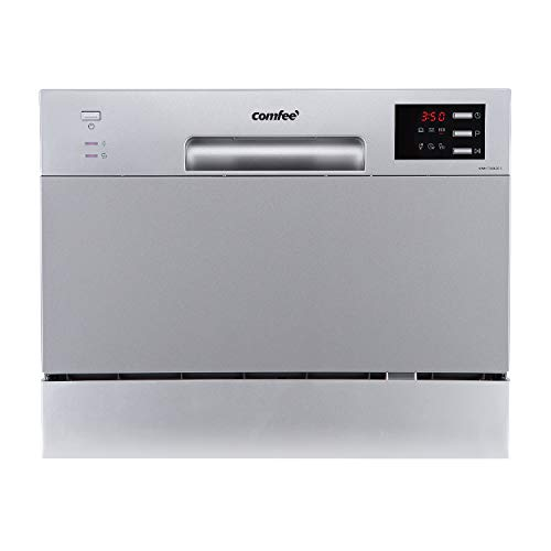 COMFEE' Table Top Compact Dishwasher TD602E-S Mini Dishwasher with 6 Place Settings, 6 Programmes, LED Display, Delay Start and Off-peak Wash Function - Silver