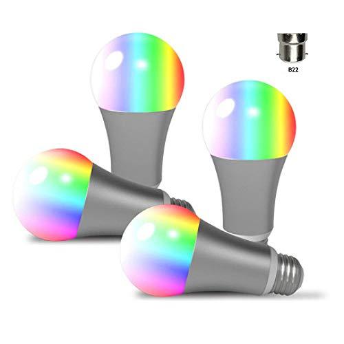 Sky God WiFi intelligente gloeilamp, 60 W, komt overeen met witte lampen, B22 bajonetfitting, 9 W, LED, dimbaar, Smart Home Light Bulb,4 stuks