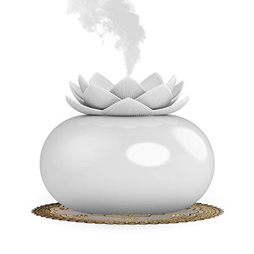 Vyaime Decor Essential Oil Diffusers Cute Lotus, Mini Ceramic Home Humidifiers Aromatherapy Difuser 200mL 12Hours, Air Purifier Freshener for Office Bedroom Yoga Spa Baby (White)