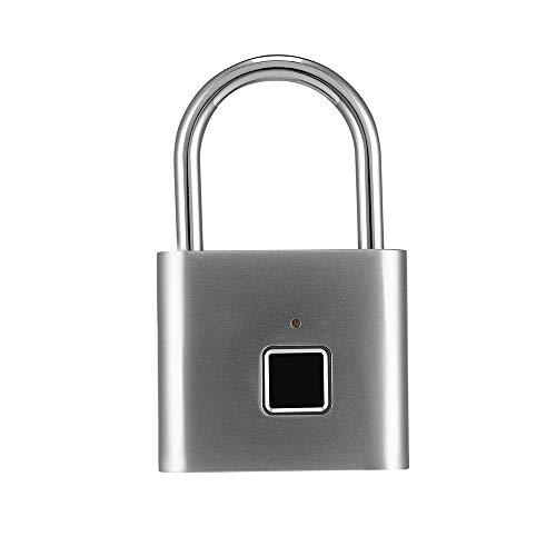 SMAA Fingerprint Lucchetto, IP65 Impermeabile, Finger Print Serratura di Sicurezza di Tocco Senza Chiave Anti Theft, per Locker Palestra Porta Bagagli Valigia Borse Scuola Armadi,Argento