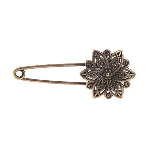 lijun Women Brooch Bronze Retro Vintage Alloy Safety Pins Flower Pigeon Antique Brass