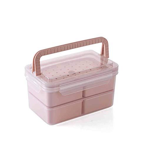 HENGTONGTONGXUN - Fiambrera de bento, cuatro fiambreras aisladas a prueba de fugas, reutilizable y práctico producto (color: rosa, tamaño: rectángulo)
