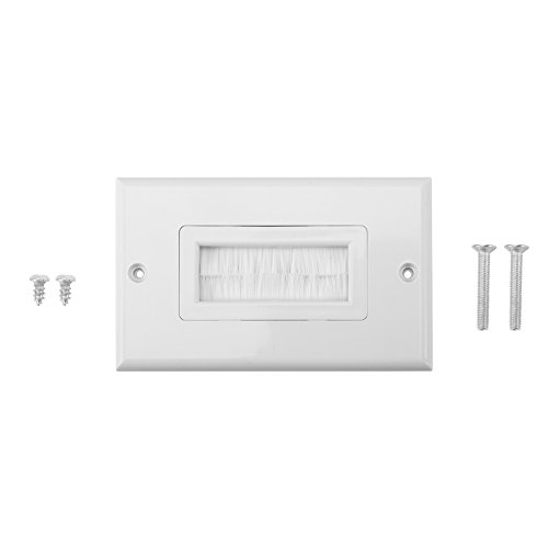 Anti-Dust borstelloze kabel Wall Plate Port White Brush Strip Wallplaat Insert Outlet Cable Faceplate Mount Multimedia Panel (stijl: Single ving)