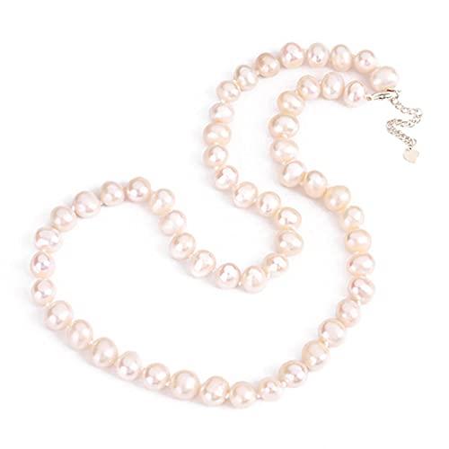 TIANGUO 2021 Collar de Perlas de Agua Dulce 925 Joyas de Plata, Cadena de Collar de Perlas Blancas de Boda para Mujer, joyería de Perlas Naturales, Regalo Fino