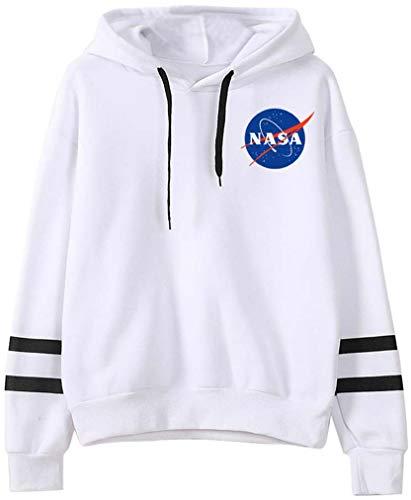 FLYCHEN Women's Fashion NASA Hoodie National Space Administration Logo Sweatshirt White S