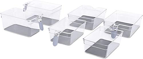 Internet's Best Kitchen Pantry Organizer Bins Set with Handles - 6 Piece Set - Pantry Fridge Freezer Storage Cabinet Containers - Silicone Non Slip Tray Feet - Clear Acrylic Holders
