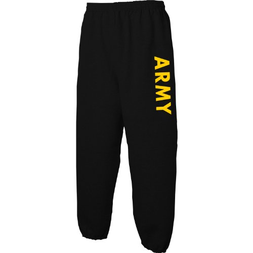 ZeroGravitee Black Army Sweat Pants with Gold Print - Large