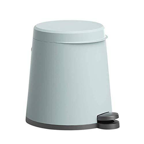 DSJMUY Papelera Papelera, Caja de Pedal de Cocina, Papelera de plástico, Papelera de baño Cerrada Suave con Tapa y Cubo Interior Desmontable - 6 litros (Color: Azul)