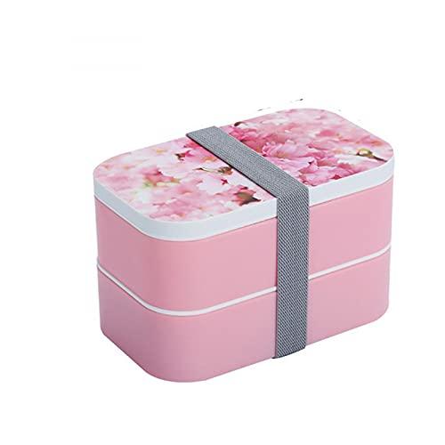 MONTA 3D 20 x 12,5 x 12 cm patrón de dibujos animados estilo japonés Bento Box doble capa de acero inoxidable camping almuerzo caja de microondas contenedor de alimentos para regalo
