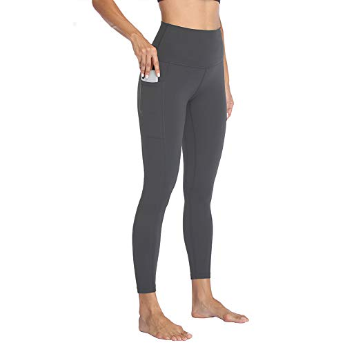HIGHDAYS High Waisted Yoga Pants with Pockets for Women - Soft Tummy Control Stretchy Workout Leggings Dark Grey