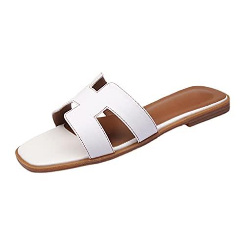YXCKG Sandalias para Mujer, Zapatos De Verano para Mujer Sandalias, Zapatillas Planas Cuadradas con Punta Abierta, Zapatillas De Playa Cómodas De Cuero, Suela De Goma Sin Cordones