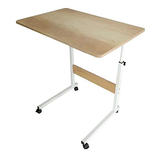 QWERTY Adjustable Laptop Bed Table Height Adjustable Mobile Table Workstation Laptop Overbed Multi Table Home Bedside Laptop Overbed Table (Color : Ancient maple wood, Size : 80 * 40)