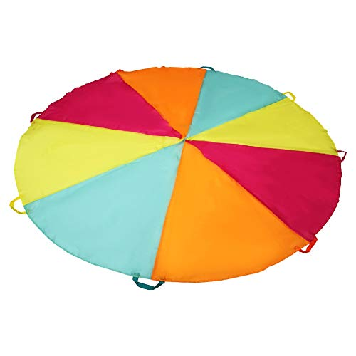 SupinefoxUS 6ft Play Parachute with 8 Handles Multicolored Parachute for Kids, Kids Play Parachute for Indoor Outdoor Games Exercise Toy