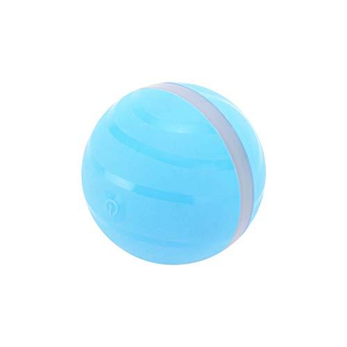 Yowablo Auto Roll, USB wiederaufladbare, intelligente interaktive Haustier Spielzeug Ball kauen Geschenk Kätzchen Kätzchen Welpen Welpen mit LED-Licht Silikon wasserdicht (7cm,Blau)