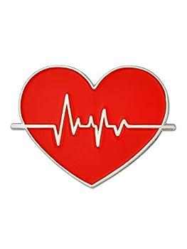 PinMart Red Heart Beat American Heart Month Doctor Nurse Gift Enamel Lapel Pin