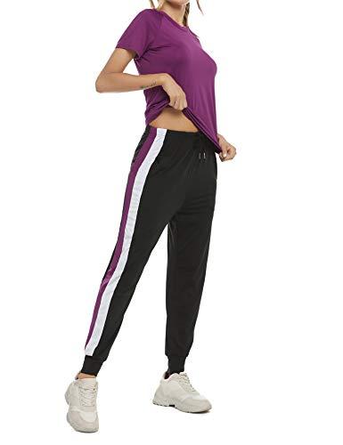 Akalnny Tuta da Ginnastica Donna Sportiva 2 Pezzi Tops e Pantaloni con Coulisse Estivo Tute Ginnastica per Palestra Jogging Yoga Fitness(Viola, XXL)