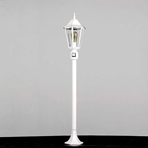 Rustikale Wegeleuchte mit Bewegungsmelder E27 Höhe 1,1m IP44 Stehlampe Weiß Beleuchtung Garten Terrasse