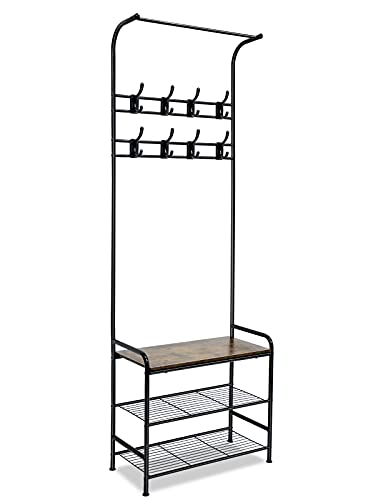 Daccormax Perchero de pie con zapatero y banco, con 16 ganchos desmontables, 2 estantes, metal, color negro, 181 cm de alto, para pasillo, dormitorio, diseño industrial