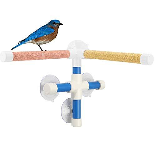 X-zoo Papagei Sitzstangen, Vogel Dusche, Sitzstange aus Mineral Stones und Plastik, Vogelständer mit Saugnapf für Vögel, Wellensittich, Papagei, Sittiche, Nymphensittiche