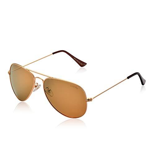 LUENX Herren Sonnenbrille, polarisiert, UV-Schutz 400, mit Etui, 60 mm Gr. L, 14-brown
