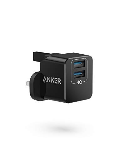 Anker USB Plug Charger, PowerPort mini Dual Port USB Charger, Super Compact Wall Charger, 2.4A Output for iPhone Xs/XS Max/XR/X/8/7/6/Plus, iPad Pro/Air 2/Mini 4, Samsung, and More